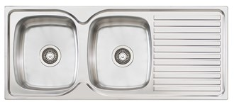 Oliveri Endeavour Double 1135mm Bowl Topmount Sink With Drainer
