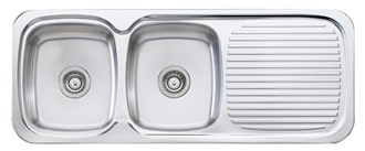 Oliveri Lakeland Double Bowl Sink With Drainer