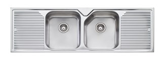 Oliveri Nu-Petite Double Bowl Topmount Sink With Double Drainer