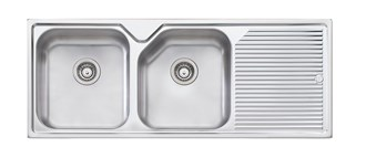 Oliveri Nu-Petite Double Bowl Topmount Sink With Drainer