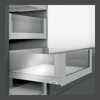 Blum LEGRABOX free 450MM Inner Drawer C Height 177MM with HIGH GLASS DESIGN ELEMENT to suit 600MM Wide Drawer with Integrated BLUMOTION in Orion Grey 40KG
