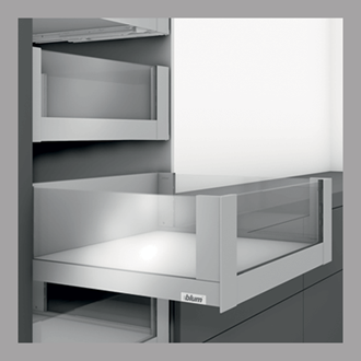 Blum LEGRABOX free 450MM Inner Drawer C Height 177MM in Stainless Steel 70KG with HIGH GLASS DESIGN ELEMENT to suit 450MM Wide Drawer with TIP-ON BLUMOTION. For drawer weight of 35-70kg