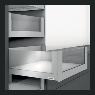 Blum LEGRABOX free 450MM Inner Drawer C Height 177MM in Terra Black 70KG with HIGH GLASS DESIGN ELEMENT to suit 600MM Wide Drawer with TIP-ON BLUMOTION. For drawer weight of 15-40kg