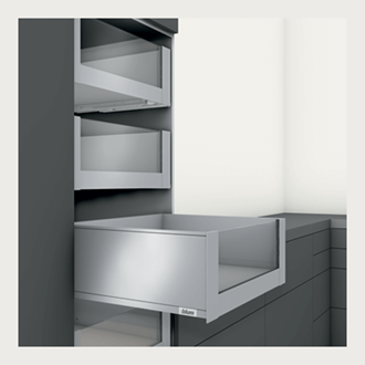 Blum LEGRABOX pure 350MM Inner Drawer C Height 177mm with HIGH GLASS DESIGN ELEMENT to suit 450MM Wide Drawer with Integrated BLUMOTION in Silk White 40KG