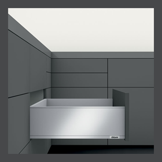 Blum LEGRABOX Std pure High Fronted C Height 177MM drawer 400MM Integrated BLUMOTION in Orion Grey 40KG