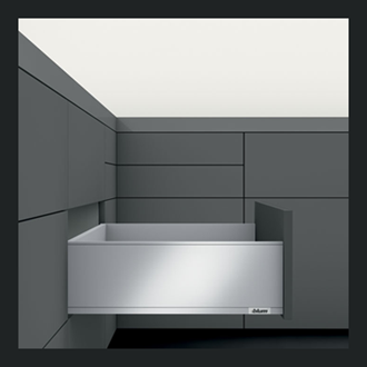 Blum LEGRABOX Std pure High Fronted C Height 177MM drawer 450MM Integrated BLUMOTION in Terra Black 40KG