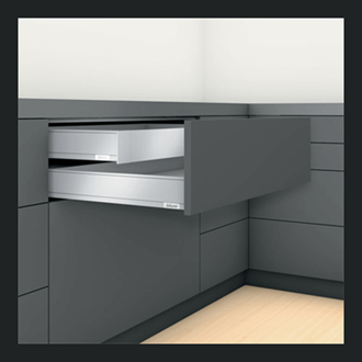 Blum LEGRABOX pure Inner Drawer M Height 90.5MM drawer 450MM TIP-ON BLUMOTION in Terra Black 70KG for drawer weight 35-70kg