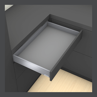 Blum LEGRABOX pure M Height 90.5MM drawer 600MM TIP-ON BLUMOTION in Orion Grey 70KG for drawer weight of 15-40kg