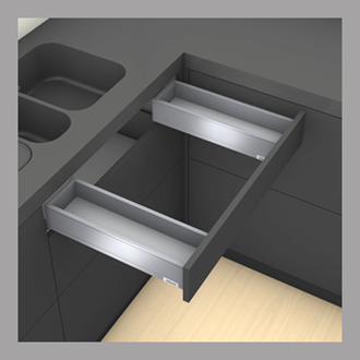 Blum LEGRABOX pure Sink Drawer M Height 90.5MM drawer 400MM Integrated BLUMOTION in Anti-fingerprint Stainless Steel 40KG