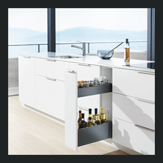 Blum LEGRABOX SPACE TWIN 400MM integrated BLUMOTION in Terra Black 40KG