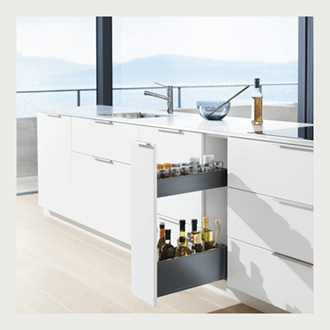 Blum LEGRABOX SPACE TWIN 600MM integrated BLUMOTION in SILK WHITE 70KG