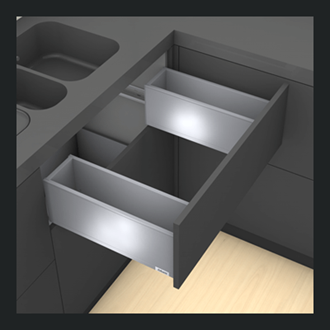 Blum LEGRABOX pure Sink Drawer C Height 177MM drawer 400MM Integrated BLUMOTION in Terra Black 40KG