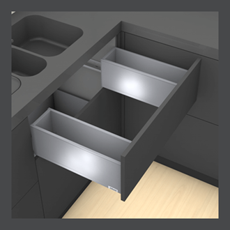 Blum LEGRABOX pure Sink Drawer C Height 177MM drawer 500MM Integrated BLUMOTION in Orion Grey 40KG